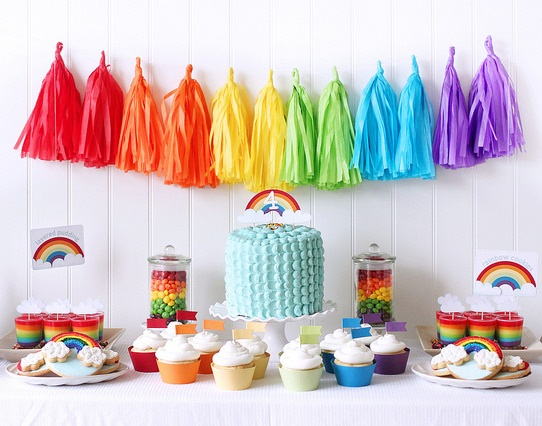 rainbow bat mitzvah theme