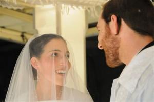 Jewish bride and groom